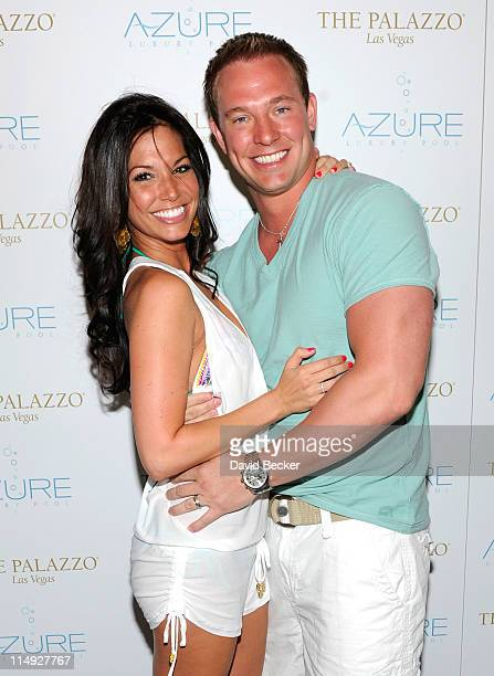 Television personality Melissa Rycroft and her husband Tye Strickland arrive for the Memorial Day weekend pool party at the Azure pool at The Palazzo...