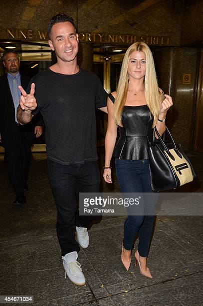 Television personality Mike Sorrentino and Lauren Pesce leave the Rockefeller Center Studios on September 4 2014 in New York City