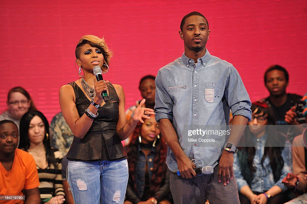 Television personality Miss Mykie and Rapper Shorty da Prince cohost BET's 106th Park show at 106 Park Studio on March 20 2013 in New York City