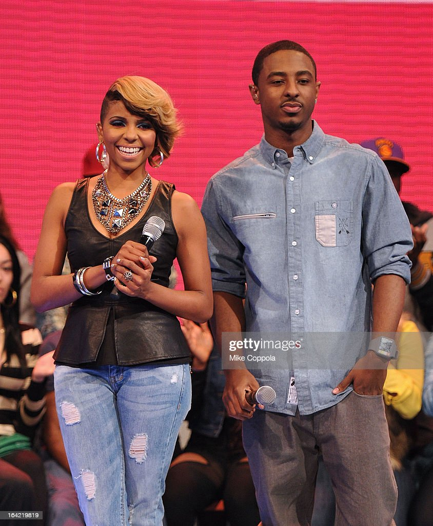 Television personality Miss Mykie (L) and Rapper Shorty da Prince co-host BET's 106th & Park show at 106 & Park Studio on March 20, 2013 in New York City.