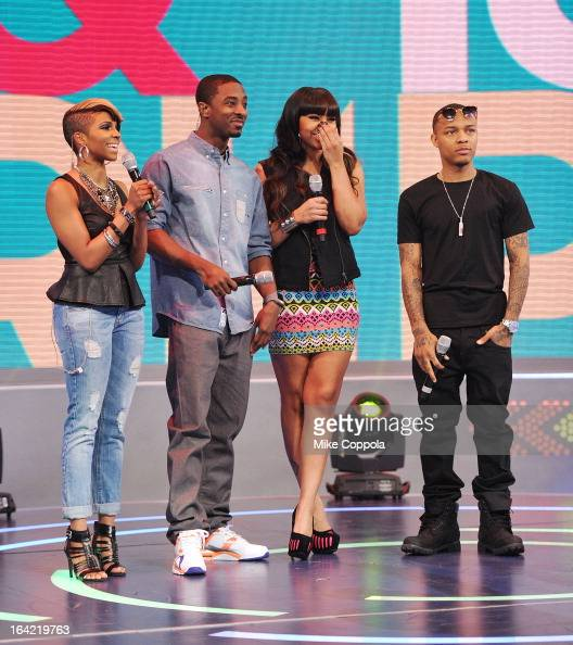 Television personality Miss Mykie rapper Shorty da Prince actress Paigion and Rapper Bow Wow cohost BET's 106th Park show at 106 Park Studio on March...