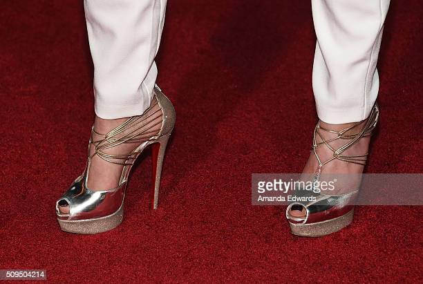 Television personality Natalie Eva Marie shoe detail arrives at the premiere of 'A Trip To Unicorn Island' at TCL Chinese Theatre on February 10 2016...
