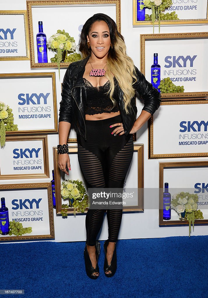 Television personality <a gi-track='captionPersonalityLinkClicked' href=/galleries/search?phrase=Natalie+Nunn&family=editorial&specificpeople=4630682 ng-click='$event.stopPropagation()'>Natalie Nunn</a> arrives at the debut of The House of Moscato launch party for the new SKYY Infusions Moscato Grape Vodka at Greystone Manor Supperclub on April 24, 2013 in West Hollywood, California.