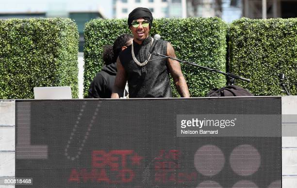 Television personality Nick Cannon and guest perform at Live Red and Ready PreShow at the 2017 BET Awards at Microsoft Square on June 25 2017 in Los...