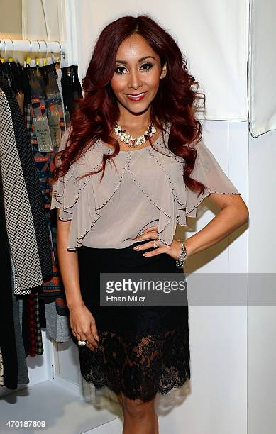 Television personality Nicole 'Snooki' Polizzi debuts her SnookiLove by Nicole Polizzi line at the Double Zero booth during MAGIC Market Week at the...