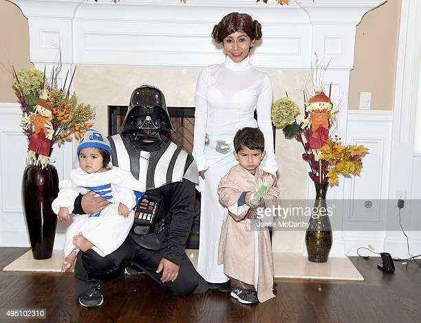 Television personality Nicole 'Snooki' Polizzi Jionni Lavalle and their family dress up as 'Star Wars' characters for Halloween on October 31 2015 at...