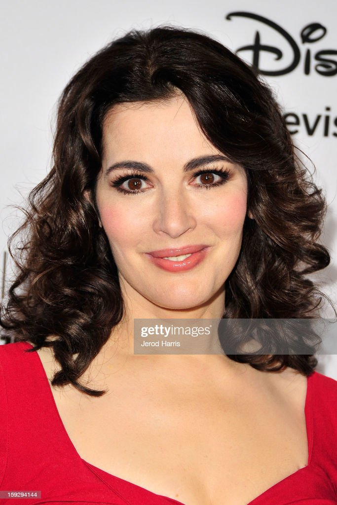 Television personality Nigella Lawson arrives at Disney ABC Television's red carpet gala at the Langham Huntington Hotel and Spa on January 10, 2013 in Pasadena, California.