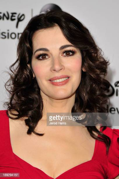Television personality Nigella Lawson arrives at Disney ABC Television's red carpet gala at the Langham Huntington Hotel and Spa on January 10 2013...