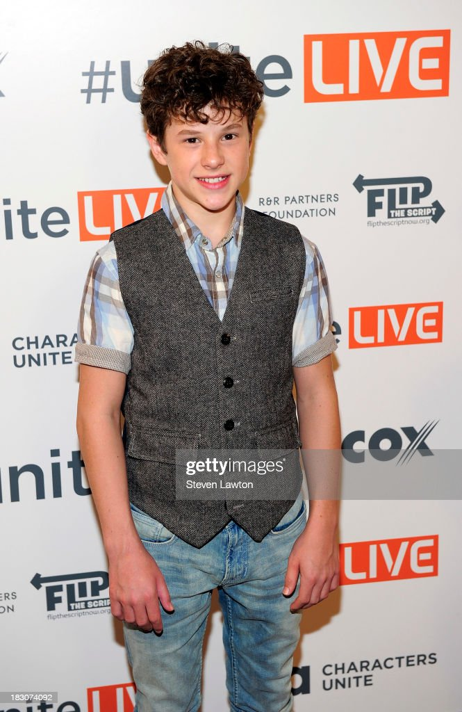 Television personality <a gi-track='captionPersonalityLinkClicked' href=/galleries/search?phrase=Nolan+Gould&family=editorial&specificpeople=5691358 ng-click='$event.stopPropagation()'>Nolan Gould</a> arrives at 'UniteLIVE: The Concert to Rock Out Bullying' at the Thomas & Mack Center on October 3, 2013 in Las Vegas, Nevada.