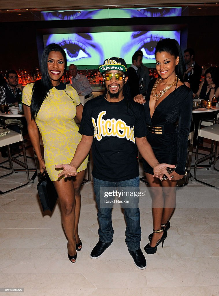 Television personality Omarosa Manigault, recording artist Lil' Jon and television personality <a gi-track='captionPersonalityLinkClicked' href=/galleries/search?phrase=Claudia+Jordan&family=editorial&specificpeople=702294 ng-click='$event.stopPropagation()'>Claudia Jordan</a> appear at Andrea's at Encore Las Vegas to celebrate the season premiere of 'All-Star Celebrity Apprentice' on March 2, 2013 in Las Vegas, Nevada.