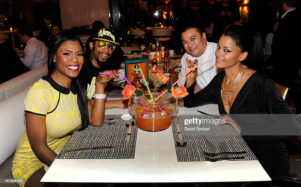 Television personality Omarosa Manigault, recording artist Lil' Jon, chef Joseph Elevado and television personality <a gi-track='captionPersonalityLinkClicked' href=/galleries/search?phrase=Claudia+Jordan&family=editorial&specificpeople=702294 ng-click='$event.stopPropagation()'>Claudia Jordan</a> appear at Andrea's at Encore Las Vegas to celebrate the season premiere of 'All-Star Celebrity Apprentice' on March 2, 2013 in Las Vegas, Nevada.