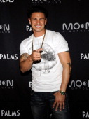 Television personality Paul 'Pauly D' DelVecchio arrives at a retirement party for former NBA player Shaquille O'Neal at Moon nightclub at the Palms...