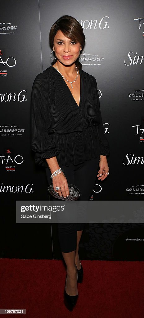 Television personality <a gi-track='captionPersonalityLinkClicked' href=/galleries/search?phrase=Paula+Abdul&family=editorial&specificpeople=202119 ng-click='$event.stopPropagation()'>Paula Abdul</a> arrives at the annual Simon G. Soiree at the Tao Nightclub at The Venetian Las Vegas on June 1, 2013 in Las Vegas, Nevada.