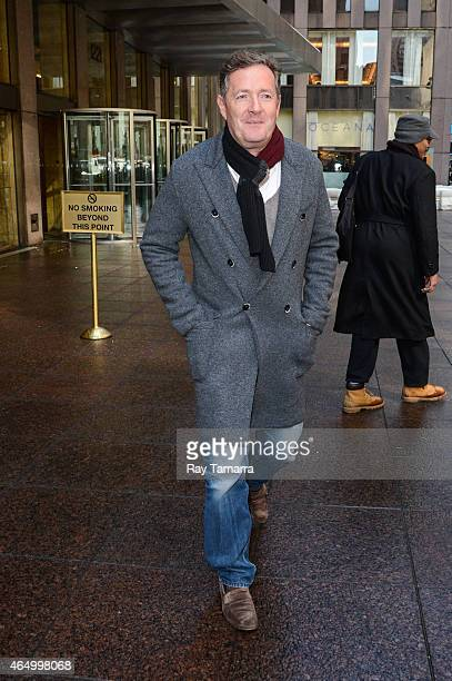 Television personality Piers Morgan leaves the Sirius XM Studios on March 2 2015 in New York City