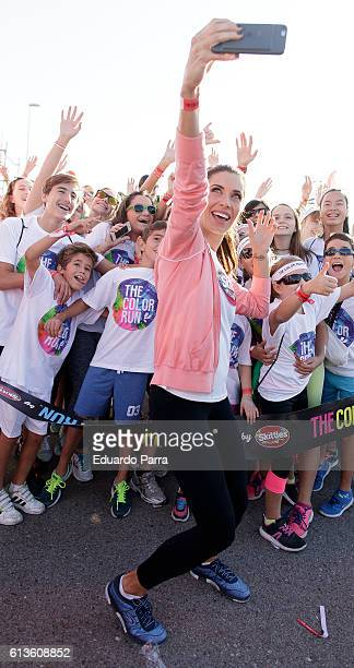 Television personality Pilar Rubio attends The Color Run on October 9 2016 in Alcobendas Spain