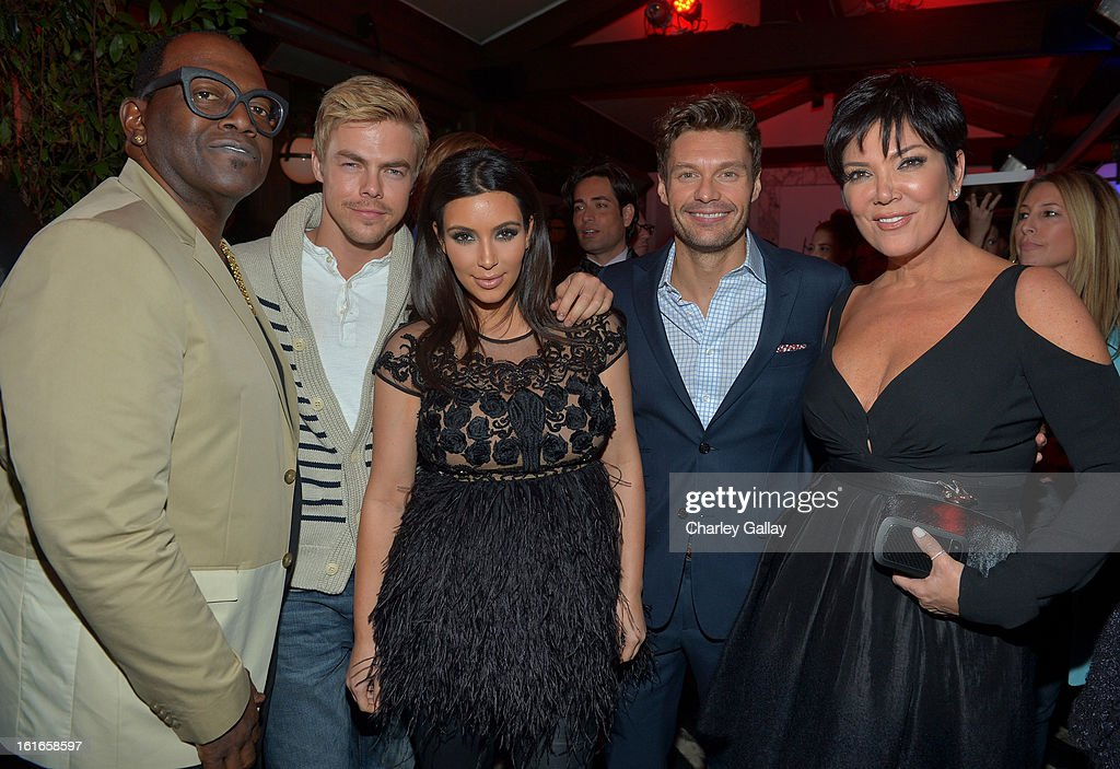 Television personality Randy Jackson, actor Derek Hough, Kim Kardashian, television personality Ryan Seacrest and Kris Jenner attend the Topshop Topman LA Opening Party at Cecconi's West Hollywood on February 13, 2013 in Los Angeles, California.