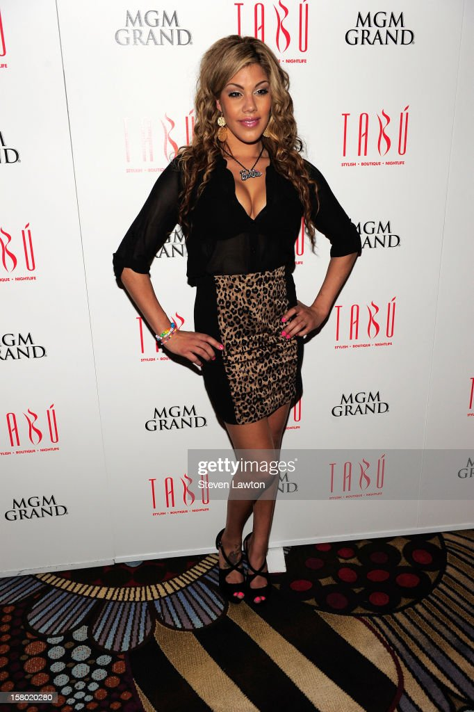 Television personality Raquel Santiage arrives for a post-fight party at the Tabu Ultra Lounge at the MGM Grand Hotel/Casino on December 8, 2012 in Las Vegas, Nevada.