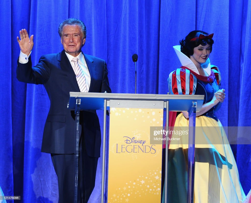 Television personality <a gi-track='captionPersonalityLinkClicked' href=/galleries/search?phrase=Regis+Philbin&family=editorial&specificpeople=202495 ng-click='$event.stopPropagation()'>Regis Philbin</a> speaks after being inducted to the Disney Legends during the D23 Expo 2011 at the Anaheim Convention Center on August 19, 2011 in Anaheim, California.