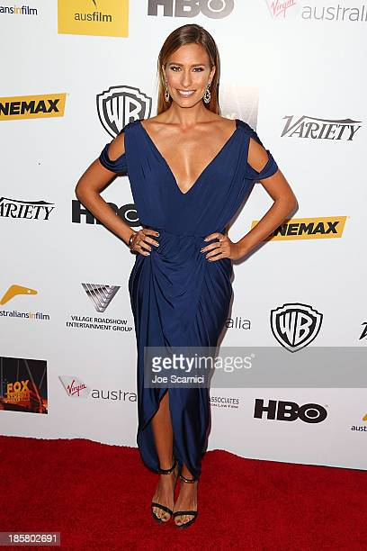 Television personality Renee Bargh arrives at the Australians in film benefit dinner at InterContinental Hotel on October 24 2013 in Century City...
