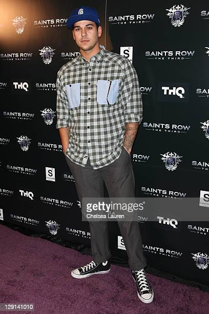 Television personality Rob Kardashian arrives at THQ's 'Saints Row The Third' sneak peek premiere event and concert at SupperClub Los Angeles on...
