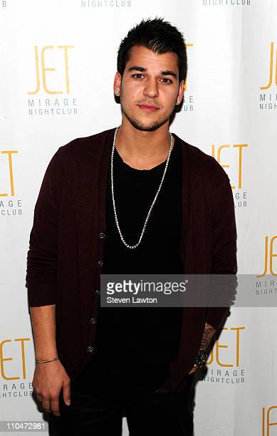 Television personality Rob Kardashian arrives to celebrate his 24th birthday at the Jet Nightclub at The Mirage Hotel Casino on March 18 2011 in Las...