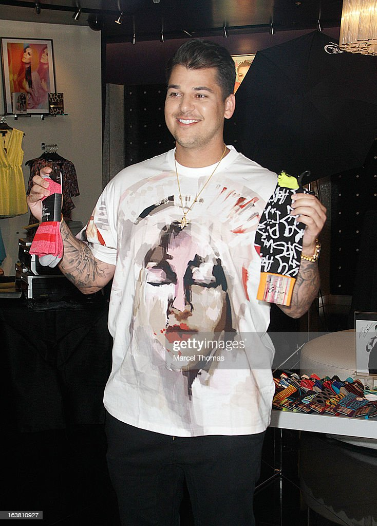 Television personality Rob Kardashian makes an appearance at the Kardashian Khaos store at The Mirage on March 16, 2013 in Las Vegas, Nevada.
