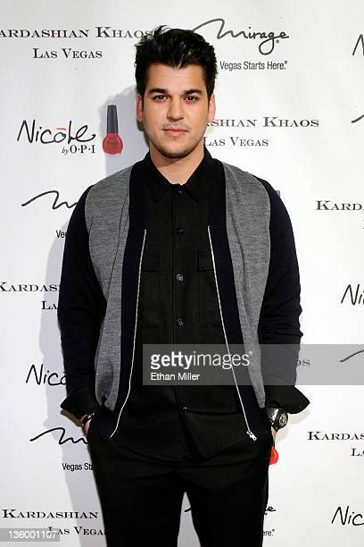 Television personality Robert Kardashian Jr arrives at the grand opening of the Kardashian Khaos store at The Mirage Hotel Casino December 15 2011 in...