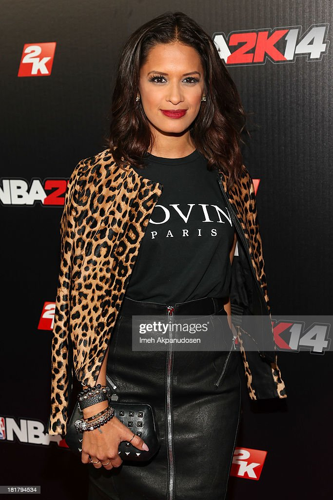 Television personality Rocsi Diaz attends the premiere party for the NBA2K14 video game at Greystone Mansion on September 24, 2013 in Beverly Hills, California.