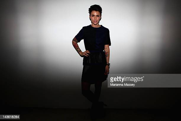 Television personality Ruby Rose poses backstage ahead of the Michael Lo Sordo show on day two of MercedesBenz Fashion Week Australia Spring/Summer...