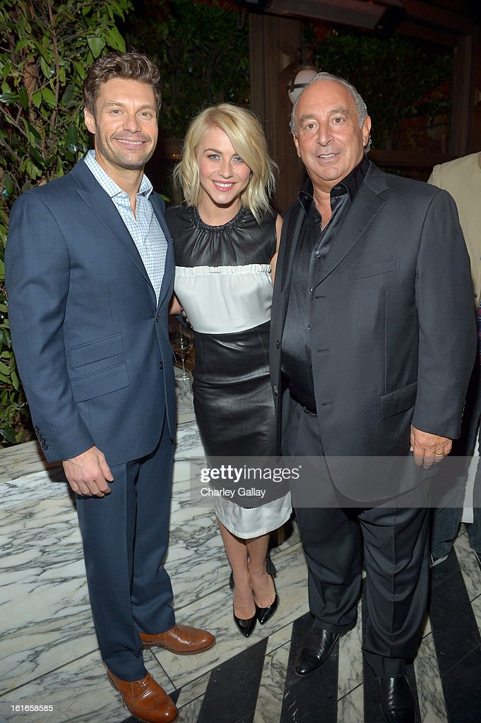 Television personality Ryan Seacrest, actress Julianne Hough and proprietor Sir Philip Green attend the Topshop Topman LA Opening Party at Cecconi's West Hollywood on February 13, 2013 in Los Angeles, California.