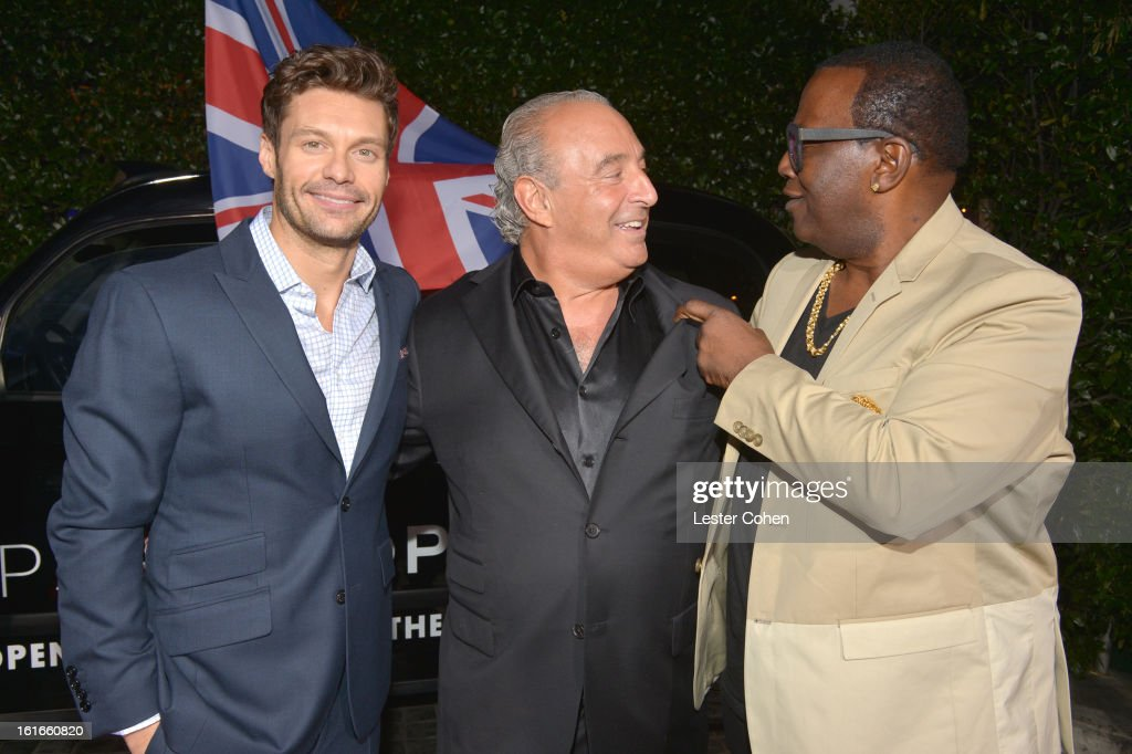 Television personality Ryan Seacrest, proprietor Sir Philip Green and television personality Randy Jackson arrive at the Topshop Topman LA Opening Party at Cecconi's West Hollywood on February 13, 2013 in Los Angeles, California.