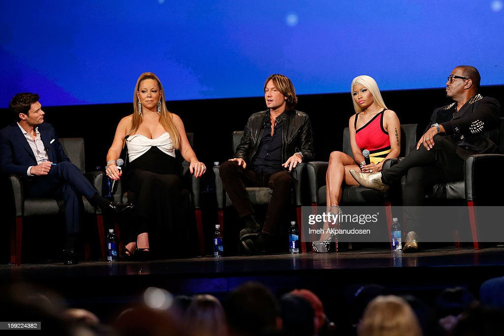 Television personality Ryan Seacrest, singer Mariah Carey, musician Keith Urban, singer Nicki Minaj, and television personality Randy Jackson onstage during a live Q&A at the season premiere screening of Fox's 'American Idol' at Royce Hall, UCLA on January 9, 2013 in Westwood, California.