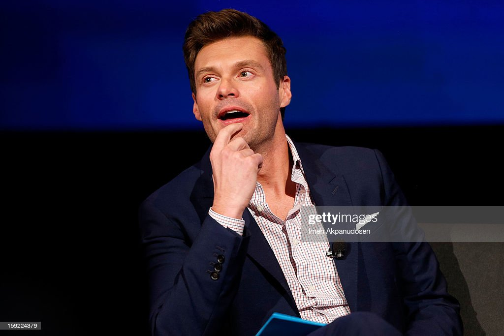 Television personality <a gi-track='captionPersonalityLinkClicked' href=/galleries/search?phrase=Ryan+Seacrest&family=editorial&specificpeople=201694 ng-click='$event.stopPropagation()'>Ryan Seacrest</a> speaks during a live Q&A during the season premiere screening of Fox's 'American Idol' at Royce Hall, UCLA on January 9, 2013 in Westwood, California.