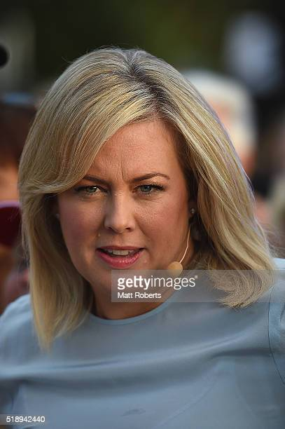 Television personality Sam Armytage during the Official Reveal of GC2018 Mascot and Two Years to Go Celebrations at Burleigh Heads Beach on April 4...