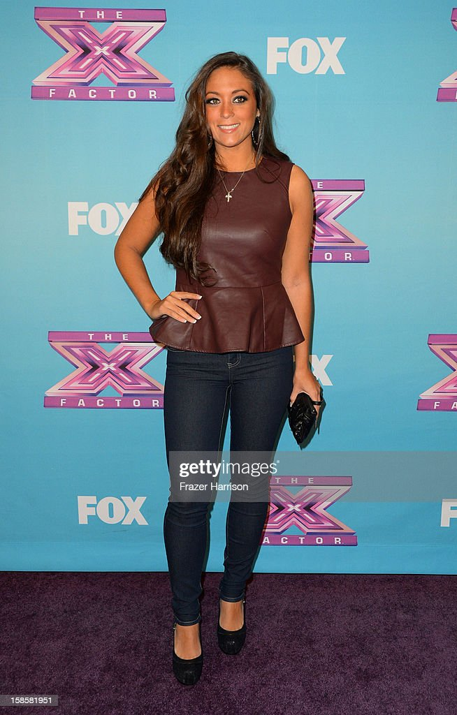 Television Personality Sammi Giancola arrives at Fox's 'The X Factor' Season Finale Night 1 at CBS Television City on December 19 2012 in Los Angeles...