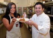 Television personality Sammi 'Sweetheart' Giancola and executive chef Geno Bernardo pose as Bernardo gives the 'Jersey Shore' star a meatball cooking...