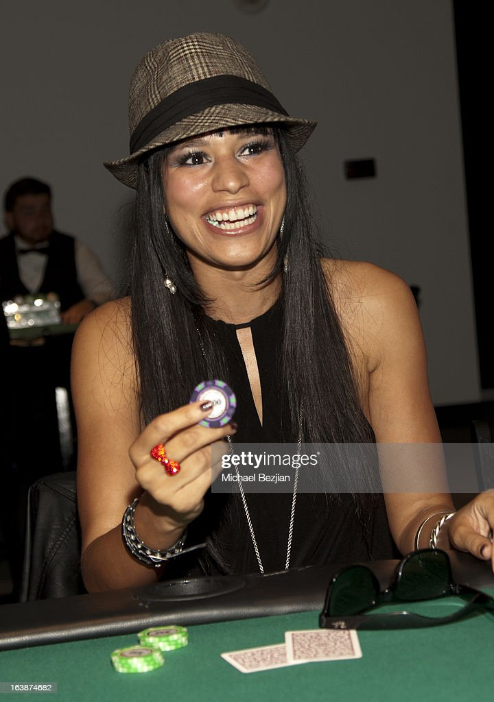 Television personality Sarah Dawson attends 'Fun For Animals' Celebrity Poker Tournament and Cocktail Party at Petersen Automotive Museum on March 16, 2013 in Los Angeles, California.