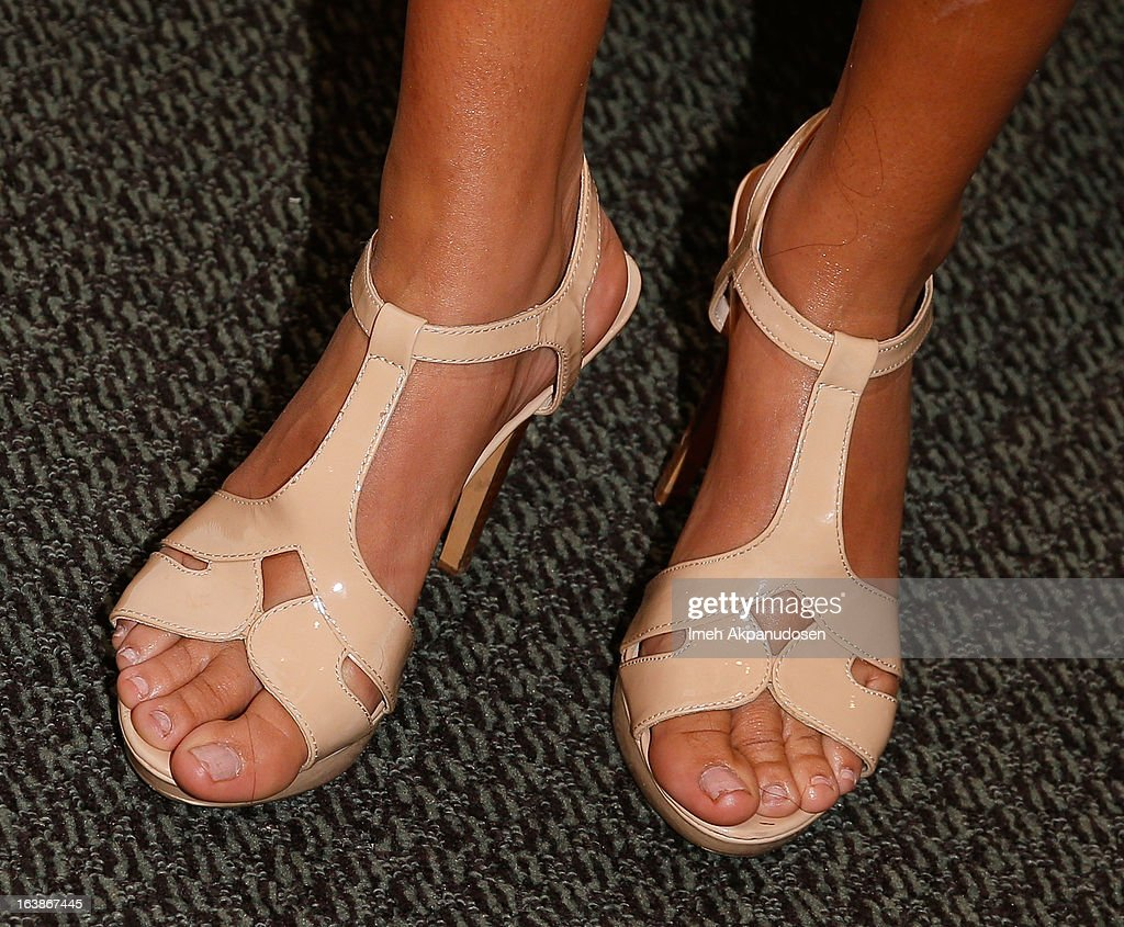 Television personality Sarah Dawson (shoe detail) attends the Fun For Animals Celebrity Poker Tournament & Cocktail Party at Petersen Automotive Museum on March 16, 2013 in Los Angeles, California.