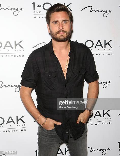Television personality Scott Disick arrives at 1 OAK Nightclub at The Mirage Hotel Casino on March 28 2015 in Las Vegas Nevada