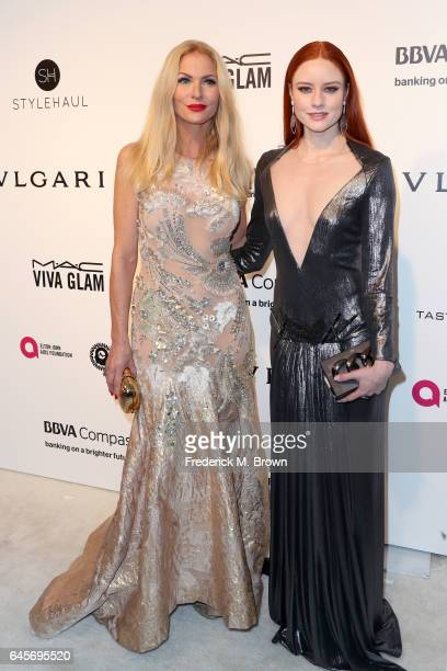 Television Personality Sonya Kraus and Actress Barbara Meier attends the 25th Annual Elton John AIDS Foundation's Academy Awards Viewing Party at The...