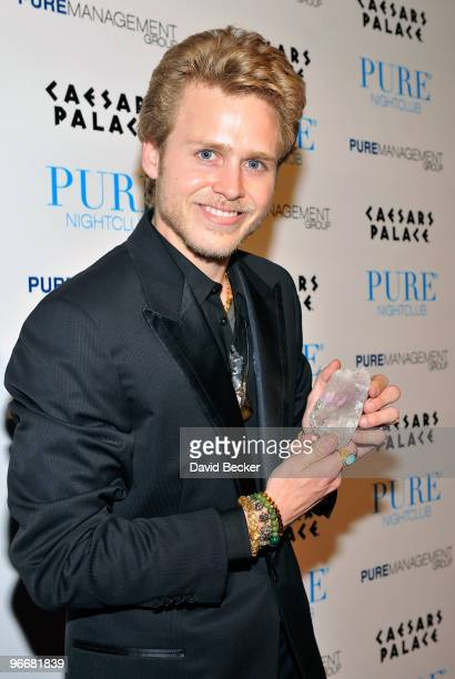 Television personality Spencer Pratt arrives to host an evening at the Pure Nightclub at Caesars Palace early February 14 2010 in Las Vegas Nevada