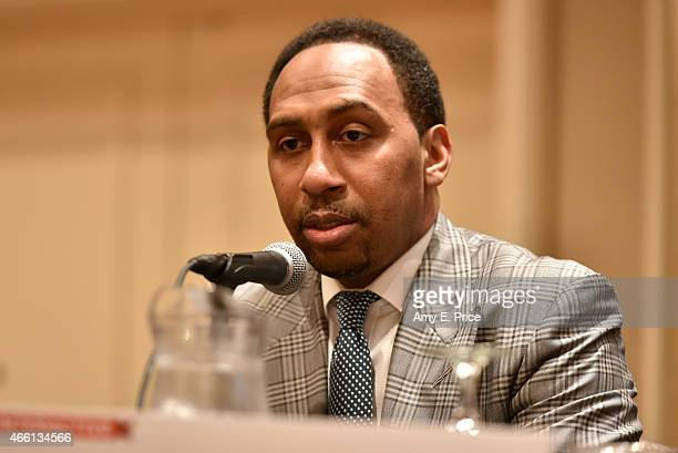 Television personality Stephen A Smith speaks onstage at 'The Evolution of Audio in the 21st Century' during the 2015 SXSW Music Film Interactive...