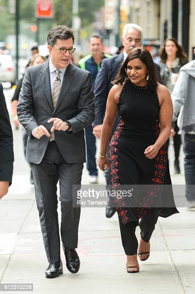 Television personality Stephen Colbert and actress Mindy Kaling tape a skit on 53rd Street on October 03 2016 in New York City
