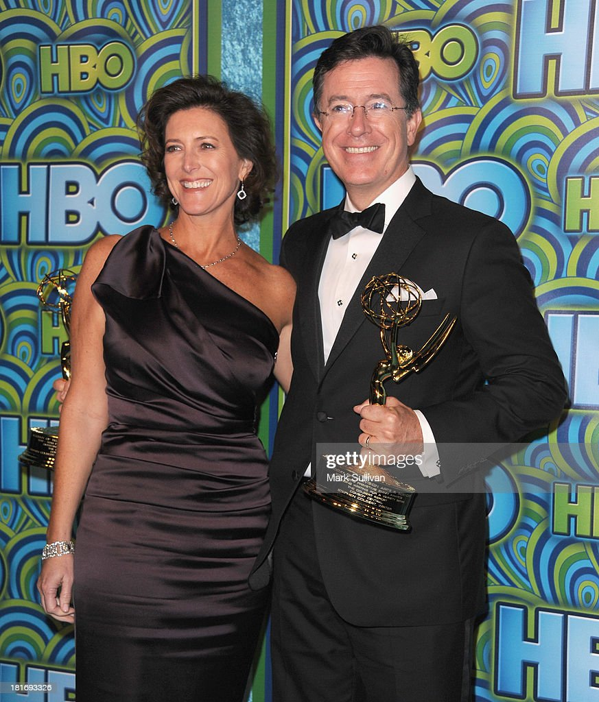 Television personality <a gi-track='captionPersonalityLinkClicked' href=/galleries/search?phrase=Stephen+Colbert&family=editorial&specificpeople=215133 ng-click='$event.stopPropagation()'>Stephen Colbert</a> (R) and Evelyn McGee-Colbert attend HBO's Post Emmy Awards party at Pacific Design Center on September 22, 2013 in West Hollywood, California.