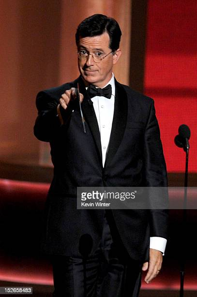 Television personality Stephen Colbert onstage during the 64th Annual Primetime Emmy Awards at Nokia Theatre LA Live on September 23 2012 in Los...