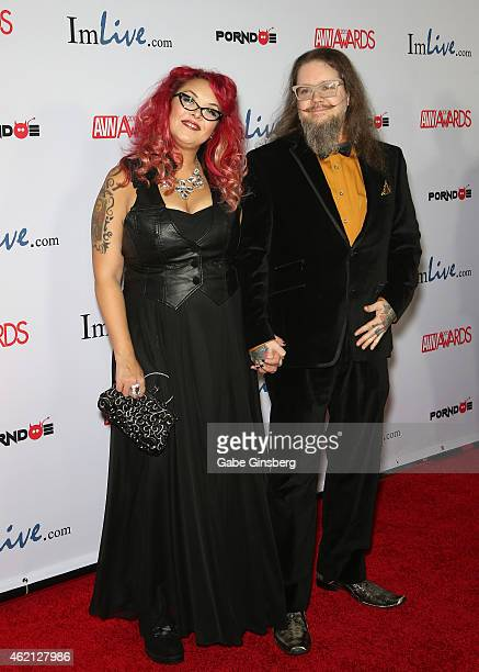 Television personality Sunny Megatron and writer Ken MelvoinBerg arrive at the 2015 Adult Video News Awards at the Hard Rock Hotel Casino on January...