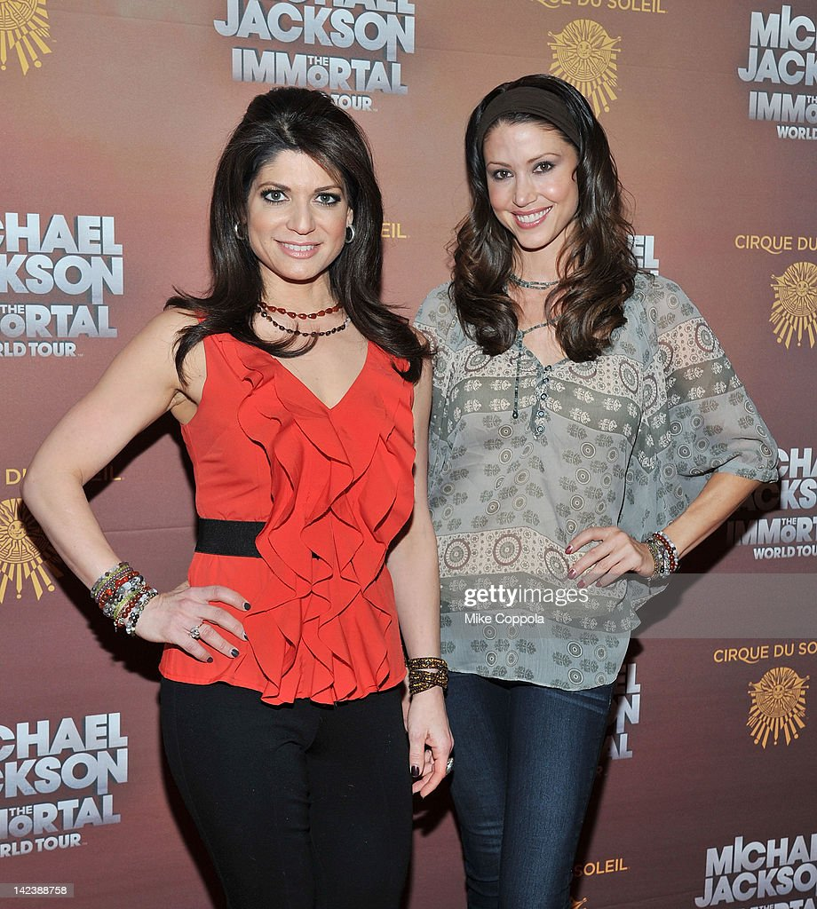 Television personality Tamsen Fadal (L) and actress <a gi-track='captionPersonalityLinkClicked' href=/galleries/search?phrase=Shannon+Elizabeth&family=editorial&specificpeople=201622 ng-click='$event.stopPropagation()'>Shannon Elizabeth</a> attends Michael Jackson THE IMMORTAL World Tour show by Cirque du Soleil at Madison Square Garden on April 3, 2012 in New York City.
