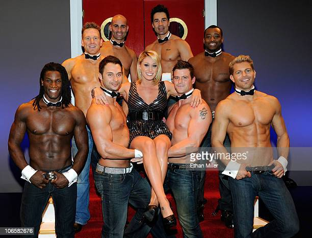 Television personality Vienna Girardi poses with Chippendales dancers as she hosts the 'Ultimate Girls Night Out' at the Chippendales show at the Rio...