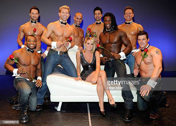 Television personality Vienna Girardi poses with Chippendales dancers Kenny King James Davis Jaymes Vaughan John Rivera Juan DeAngelo Chaun Thomas...