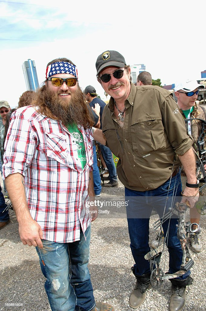 Television personality Willie Robertson (L) and recording artist <a gi-track='captionPersonalityLinkClicked' href=/galleries/search?phrase=Kix+Brooks&family=editorial&specificpeople=206811 ng-click='$event.stopPropagation()'>Kix Brooks</a> attend the 48th Annual Academy Of Country Music Awards & Cabela's Great Outdoors Archery event at the Orleans Arenaon April 6, 2013 in Las Vegas, Nevada.